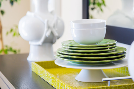 Apple Green Accents Decorative Dining Abstract in Home.