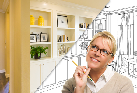 Young Woman Over Custom Built-in Shelves and Cabinets Design Drawing to Cross Section of Finished Photo. Stock Photo