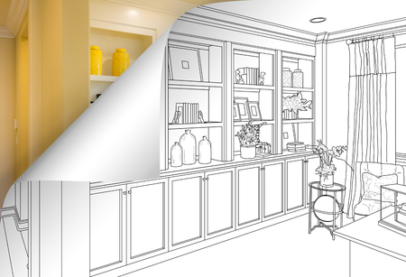 Built-in Shelves and Cabinets Drawing with Page Corner Flipping to Completed Photo Behind.