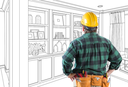 Contractor Facing Custom Built-in Shelves and Cabinets Wall Design Drawing. 版權商用圖片