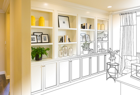 Custom Built-in Shelves and Cabinets Design Drawing Gradating to Finished Photo.