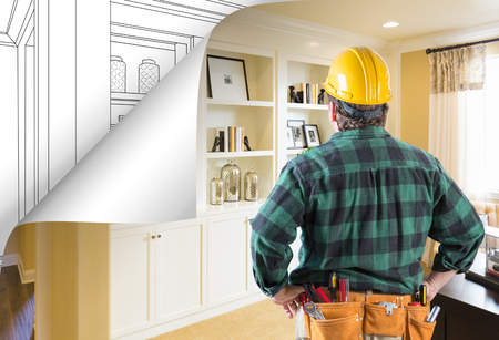 Contractor Facing Built-in Shelves and Cabinets Photo with Page Corner Flipping to Drawing Behind.
