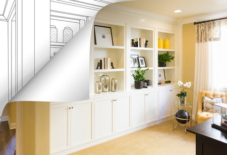 Built-in Shelves and Cabinets Photo with Page Corner Flipping to Drawing Behind.