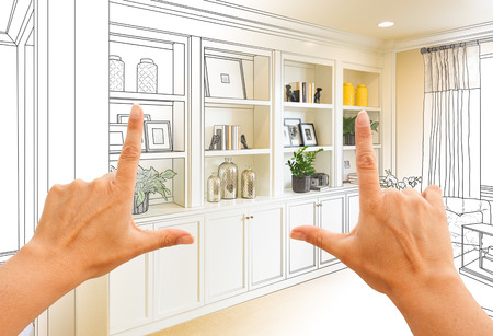 Hands Framing Custom Built-in Shelves and Cabinets Design Drawing with Section of Finished Photo.