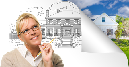Woman Facing House Drawing Page Corner Flipping with Photo Behind. Banco de Imagens