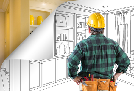Contractor Facing Built-in Shelves and Cabinets Drawing with Page Corner Flipping to Completed Photo Behind. Banco de Imagens