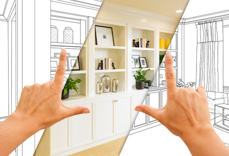Hands Framing Custom Built-in Shelves and Cabinets Design Drawing with Section of Finished Photo. Stok Fotoğraf - 98550578