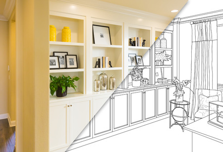 Custom Built-in Shelves and Cabinets Design Drawing with Cross Section of Finished Photo.