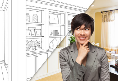 Young Woman Over Custom Built-in Shelves and Cabinets Design Drawing to Cross Section of Finished Photo. Stockfoto