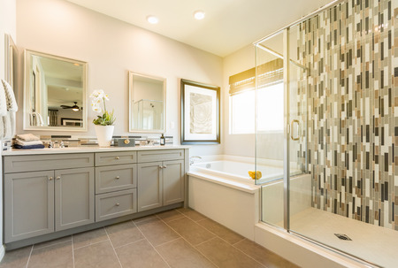 Beautiful Custom Master Bathroom Foto de archivo