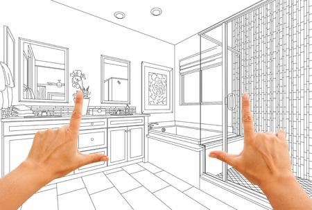 Hands Framing Custom Master Bathroom Drawing.