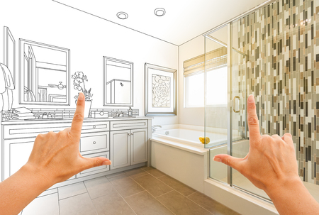 Hands Framing Custom Master Bathroom Drawing and Photo Gradation.