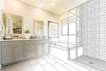 Custom Master Bathroom Design Drawing Gradating to Finished Photo.