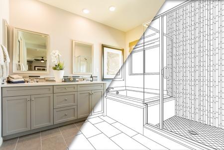 Kundenspezifische Vorlagen-Bahroom-Konstruktionszeichnung mit Querschnitt des fertigen Fotos. Standard-Bild