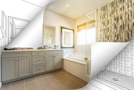 Master badkamer fotopagina hoeken flippen met tekening achter.