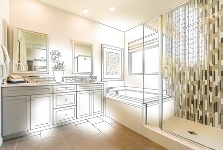 Custom Master Bathroom Photo With Brush Stroke to Design Drawing. Stok Fotoğraf - 99490376