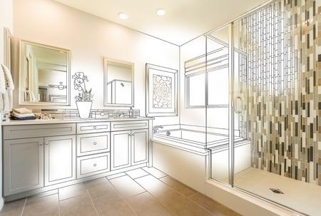 Custom Master Bathroom Photo With Brush Stroke to Design Drawing.