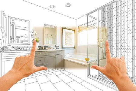 Handen Framing Custom Master Bathroom Photo Section met tekening achter.
