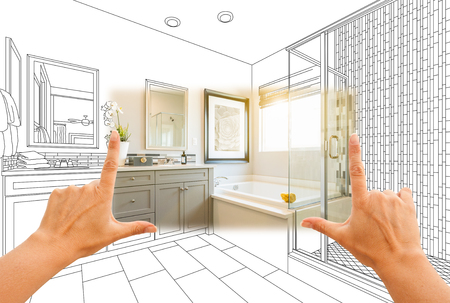 Hands Framing Custom Master Bathroom Photo Section with Drawing Behind. Stock Photo