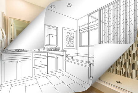 Master Bathroom Drawing Page Corners Flipping with Photo Behind.