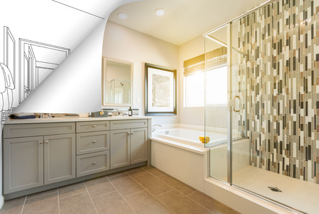 Master Bathroom Photo Page Corner Flipping with Drawing Behind. Stockfoto