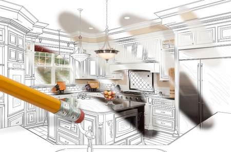 Pencil Erasing Drawing To Reveal Finished Custom Kitchen Design Photograph Stock Photo