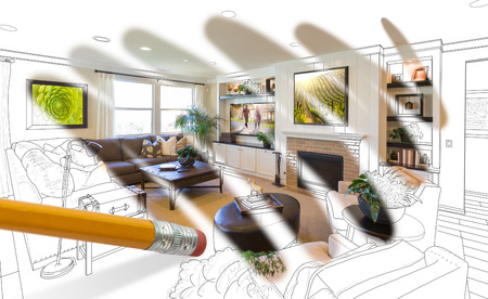 Pencil Erasing Drawing To Reveal Finished Custom Living Room Design Photograph Standard-Bild - 104460617