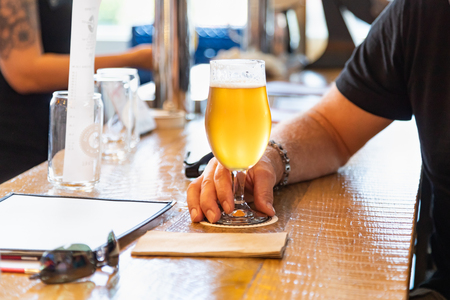 Man Holding Glass of Micro Brew Beer at Bar.