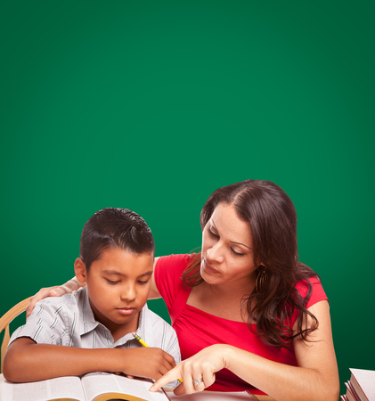 Blank Chalk Board Behind Hispanic Young Boy and Famale Adult Studying.