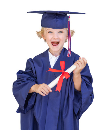 Cute Young Caucasian Boy Wearing Graduation Cap and Gown Isolated On A White Background. Foto de archivo