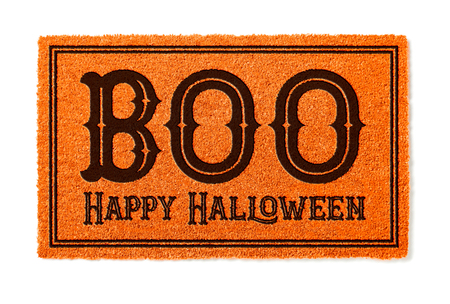 Boo, Happy Halloween Orange Welcome Mat Isolated on White Background.