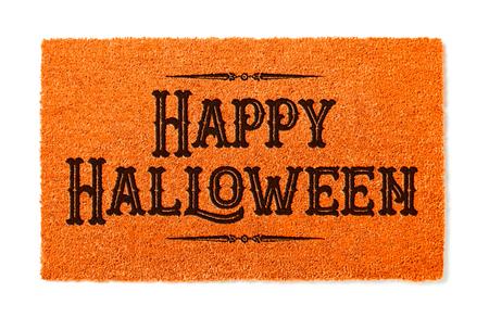 Happy Halloween Orange Welcome Mat Isolated on White Background. Stockfoto
