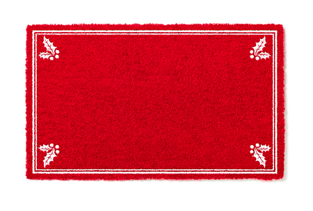 Blank Holiday Red Welcome Mat With Holly Corners Isolated on White  Background.