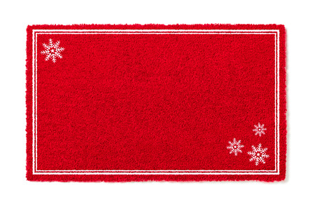 Blank Holiday Red Welcome Mat With Snow Flakes Isolated on White  Background.