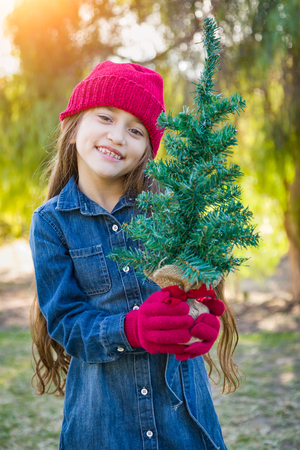 Cute Mixed Race Young Girl Wearing Red Knit Cap and Mittens Holding Small Christmas Tree Outdoors. Stock Photo