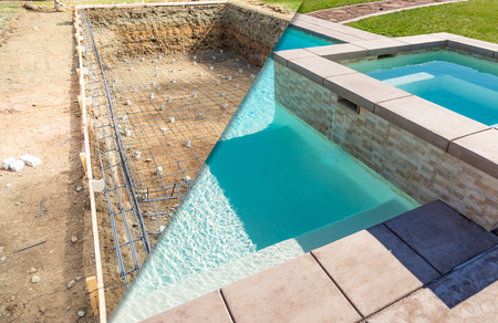 Before and After Pool Build Construction Site. Фото со стока