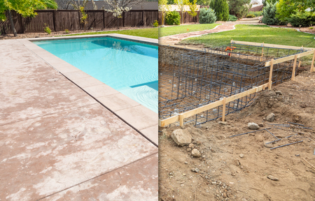 Before and After Pool Build Construction Site. Stockfoto