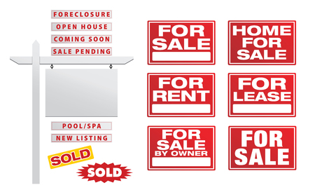 Set of Vector Real Estate Signs with Placards - Build Your Own Illusztráció