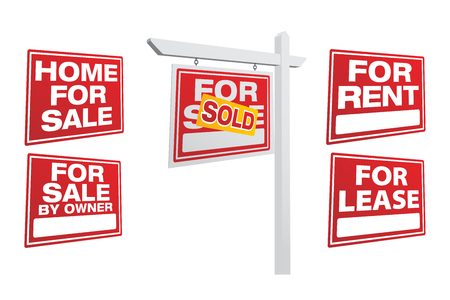 Set of Left Facing Vector Real Estate Signs - Build Your Own. Illusztráció