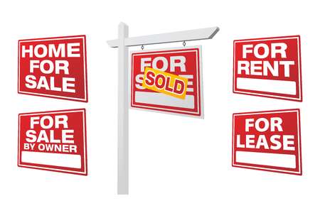 Set of Right Facing Vector Real Estate Signs - Build Your Own. Illusztráció