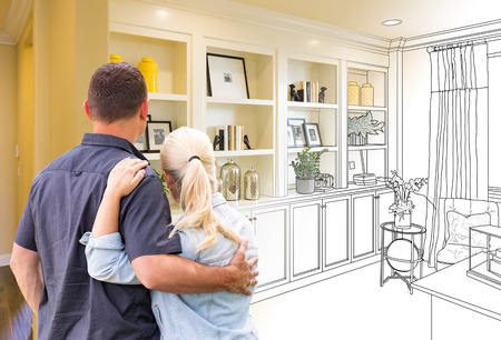Couple Facing Book Shelf Built-in Drawing Gradating To Photo.