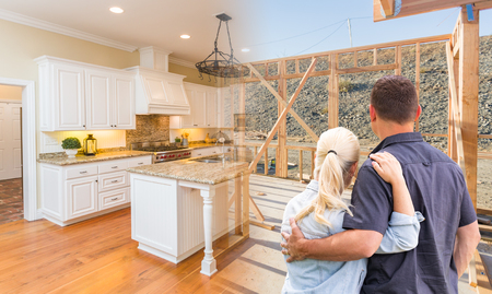Couple Facing Construction Framing Gradating To Completed Custom Kitchen.