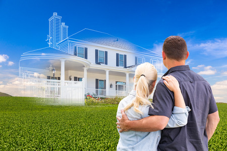 Couple Facing Ghosted House Drawing and Photo Over Green Landscape.
