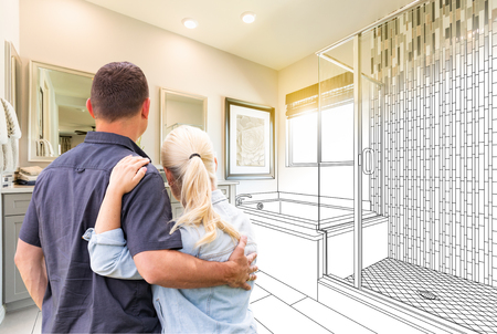 Couple Facing Bathroom Drawing Gradating To Photo.