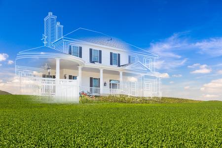 Piękny rysunek niestandardowego domu i upiorny dom nad zielonym krajobrazem. Zdjęcie Seryjne