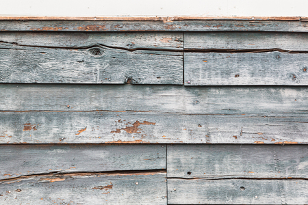 Weathered Wood Panel Wall With Peeling Paint Textured Background. 스톡 콘텐츠