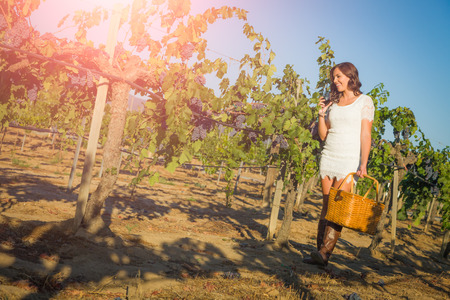 Beautiful Young Adult Woman Enjoying Glass of Wine Tasting Walking In The Grape Vineyard. Archivio Fotografico - 124889203