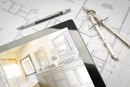 Computer Tablet with Master Bathroom Design Over House Plans, Pencil and Compass. Reklamní fotografie