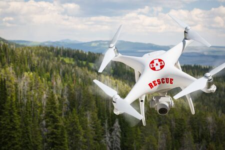SAR - Search and Rescue Unmanned Aircraft System, (UAS) Drone Flying Above A Mountain Forest.