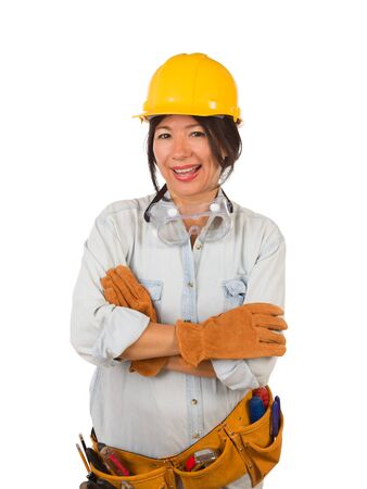 Hispanic Female Contractor Wearing Goggles, Hard Hat and Goggles Isolated on White Background.